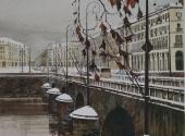 Inverno su Piazza Vittorio acquerello 49X60