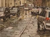 Pioggia in Via Po acquerello 60X70