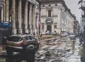 S.Filippo sotto la pioggia acquerello 50X70